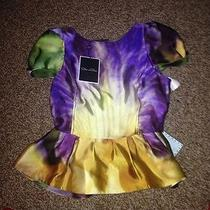 New 1385.00 Oscar De La Renta Silk Top Blouse Bright Colors Ruffles Sz 8 Photo