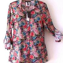 New140bcbgblack Teal Wine Blush Red Flower Bed Blouse Shirt Top16/14/xl Photo