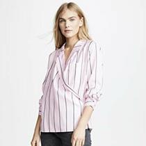 New 148 Habitual Amelie Pink Striped Wrap Blazer Blouse Shirt Size Small S Photo