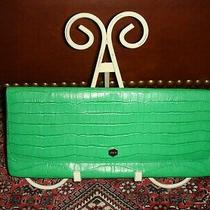New 158 Lodis Bright Bold Statement Green Croc Embossed Leather Clutch Wallet Photo