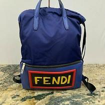 New 1750 Fendi Monster Vocabulary Drawstring Nylon / Leather Large Backpack  Photo