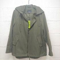 New 179 Sam Edelman Anorak Cotton Jacket Military Green Gold M Bling Sequins Photo