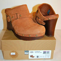 New 180 Ugg Australia W Natalee Clog Slide 9 Auburn Leather Platform Sheepskin Photo