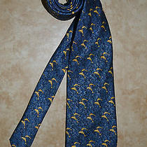 New 185 Lanvin Paris Navy W/cream Dolphins Blue Concentric Circles Silk Tie Photo