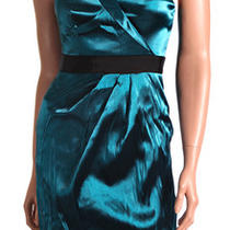 New 188 Aqua Organdy One Shoulder Sexy Party Dress 0 Xs Photo