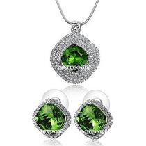 New 18k White Gold Plated Swarovski Crystal Necklace Earrings Jewelry Set N1111 Photo