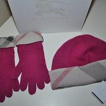 New 195 Burberry Children Girls Pink Cashmere Nova Check Hat Gloves Set Box  Photo