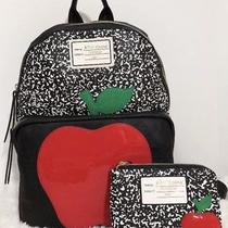 New 196-75 Sunday Steal Betsey Johnson Composition Apple Backpack & Wristlet Photo