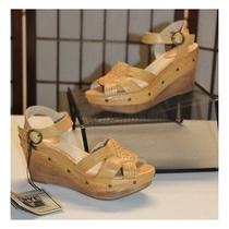 New 197 Frye Leather Studded Carlie Huarache Wedge Heel Ankle Strap Sandals 7 Photo