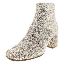 New 198 - Ash Pink Blush Glitter Sz 39 Us 9 Fabric & Leather Block Heel Boots Photo