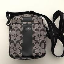 New 198 Coach Sig Black Camera Crossbody Travel Flight Bag Tote Media F70589 Photo