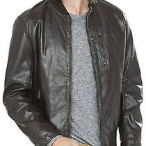 New 198 Express Brown Faux Leather Bomber Jacket Mens Size Medium Coat Nwt  Photo