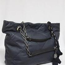 New 1990 Lanvin Amalia Lambskin Leather Navy Cabas Large Tote Bag Photo