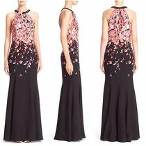 New 2995 St. John Black Flamingo Degrade Print Gown Sz 6  No Flaws Photo