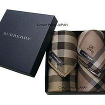 New 2 Burberry Licensed Japan Handkerchief (Mini-Scarf) Set in Gift Box Check Photo