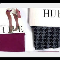New 2 Pairs Hue Tights Sueded Opaque With Control Top & Houndstooth Tight Size 2 Photo