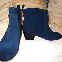 New 200 Navy Blue Suede Leather Chelsea Jeffrey Booties Eighteen68 Campbell Photo