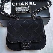 New 2013 Chanel Woc Black Suede/leather Twin/flap Handbag Wallet on Chain Bag  Photo