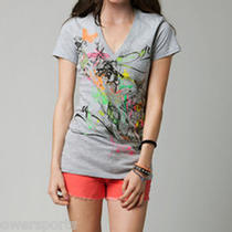 New 2013 Fox Racing Womens Juniors Roadmap v Neck T Shirt Heather Grey M Medium Photo