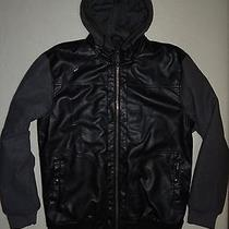 New 2014 Billabong Mens Insulated Quilted Pu Leather Hooded Jacket Coat Large Photo