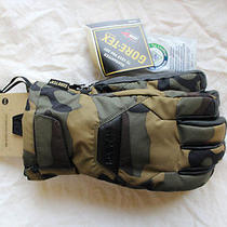 New 2014 Burton Mens Gore-Tex Leather Snowboard Gloves Medium Highland Camo Photo