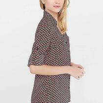 New 2016 Womens Express Original Convertible Filled Heart Portofino Shirt Medium Photo