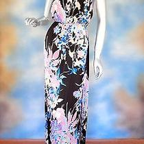 New 207 Yumi Kim Molly Maxi Silky Black Floral Backless Sexy Dress Sz  M Photo
