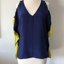 New 208 Akiko 100% Silk Cold Shoulder Blue Yellow Trim Top Blouse Size M Photo