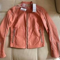 New 2165 Prada 100% Authentic Motorcycle Jacket Leather Coral Women Italy Sz 40 Photo