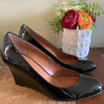 New 225 Coach Rileigh Black Patent Leather Almond Toe Wedge Heel Pumps Sz 10 M Photo