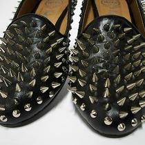 New  230 Jeffrey Campbell Black Leather Digi Spike Spiked Loafer Flat 9.5 Photo