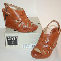 New 248 Frye Corrina Strappy 10 M Cognac Leather Wedge Platform Sandal  Photo