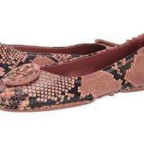 New 248 Sz 9 Tory Burch Minnie Travel Ballet Flats Blush Snake Snakeskin Python Photo