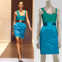 New 2490 Gucci Aqua Blue Silk Duchesse Twist Runway Dress W/ Garment Bag S 42/6 Photo