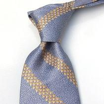New 250 Bulgari 7-Fold Tie - Blue-Gold Clover Bands Nwot Photo