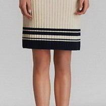 New 250 Tory Burch Medium Champagne Normandy Blue Midori Thick Sweater Skirt Photo