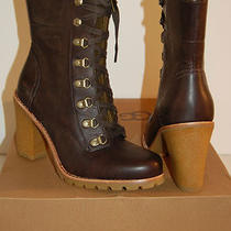 New 250 Ugg W Fabrice Mid Lace Up Boot Heel Brown Leather/wool Hiking Sz 8   Photo