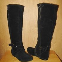 New 264 Guess Womens Gathy Black Suede Knee High Flat Boots Faux Fur Trim 6 M Photo