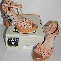 New 278 Frye Kara Woven T Rose/natural 9.5 M Platform Heel Leather Open Toe Photo