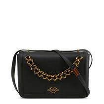 New 280 Love Moschino Bag Black Gold Logo Chain Medium Crossbody Purse Photo