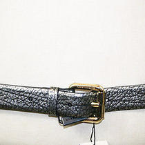 New 295 Burberry Silver Pebble Leather Gold Hardware Logo Belt 36/90 L Photo