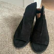 New 298 Frye Dani Shield Sling Sandal Suede Black Open Toe Bootie Heel Photo