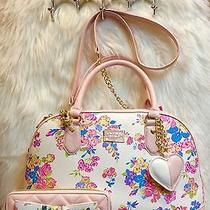 New 2pc Set Betsey Johnson Floral Blush Pink Satchel Dome Crossbody  & Wallet  Photo