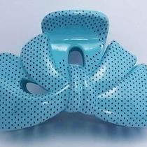 New 3'' Green Ribbon Shape Dot Pattern Girls Simple Fancy Plastic Hair Claw Clip Photo