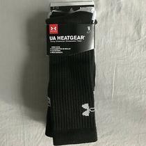 New 3 Pack Mens Under Armour Heatgear Crew Sock Large Black Performance Athletic Photo