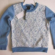 New 30.00 - Blush & Bloom Cute Blue/white Lace Girls Sweatshirt -  Size  S 4 Photo