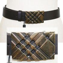 New 345 Burberry Brown Leather Nova Check Metal Bronze Buckle Fall Belt S 30 Photo