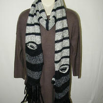 New 360 Sweater Scarf Winter Long Hues Gray Stripe Attached Fingerless Glove Photo