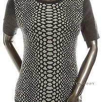 New 368 Magaschoni Womens Gray Short Sleeve Print Knit Wool Top S Stylecody Photo