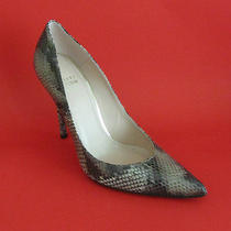 New 370 Stuart Weitzman Naughty Taupe Painted Snake Pumps 8 Photo